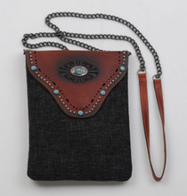 Most Wanted USA Crossbody, Leather with Turquoise Studs