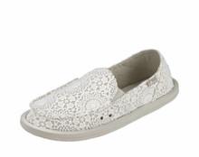 Women's Sanuk Shoe, Donna, Crocheted White with Oatmeal