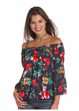 Women's Rock & Roll L/S, Off Shoulder, Navy Floral