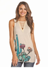 Women's Rock & Roll Tank, Cream with Cactus Print and Ladder Neckline