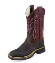 Kids Old West Boots, Dark Brown with Maroon Shaft