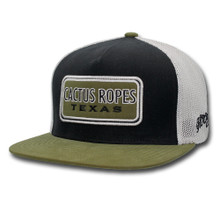Men's Hooey Cap, Black with White Mesh, Olive Bill and Logo