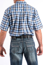 Men's Cinch S/S, Arena Flex, Blue Black and White Plaid
