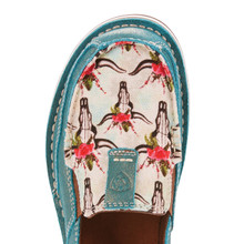 Women's Ariat Cruiser, Shimmer Turquoise with Ivory Steer and Rose Print Top