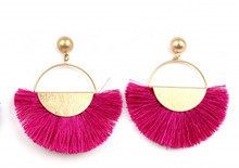 Ethel & Myrtle Earrings, Fuschia Tassel Fan