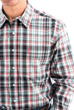 Men's Cinch L/S Modern Fit, Mint, Red and Black Plaid