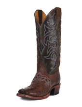 Women's Cinch Boots, Brown Ostrich with Dark Purple Inlay Tops, Snip Toe