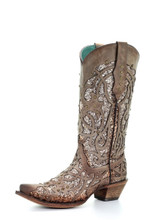 Women's Corral Boots, Brown Snip Toe with Glitter Inlay and Studs