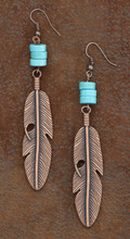 West & Co. Earrings, Burnished Copper Feather w/Turquoise