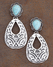 West & Co. Earrings, Silver Aztec, Turquoise Accents