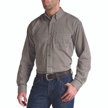 Men's Ariat L/S, FR, Coffee Bean, Pinstripe