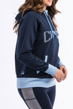 Women's Cinch Hoodie, Navy Blue with Light Blue Accents