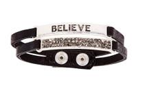 Ethel & Myrtle Bracelet, Black and Silver, Believe, Snap