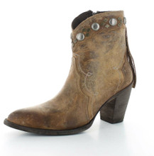 Women's Old Gringo Boot, Ninna Bootie, Brown with Fringe and Conchos