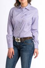 Women's Cinch L/S, Purple Pinstripe