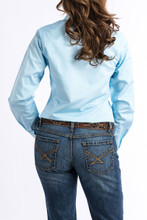 Women's Cinch L/S, Light Blue and White Pinstripe