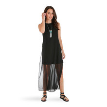 Women's Wrangler Dress, Sleeveless, Black with Sheer Overlay