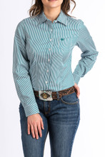 Women's Cinch L/S, Teal Pinstripe