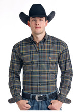 Men's Panhandle L/S, Charcoal, Orange and Yellow Plaid