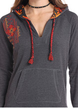 Women's Panhandle Hoodie, Charcoal with Red and Orange Aztec