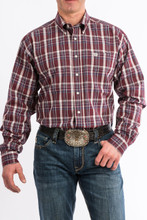Men's Cinch L/S, Maroon with White and Teal Plaid