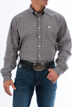 Men's Cinch L/S, Gray with White Plaid