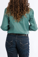 Women's Cinch L/S, Turquoise with Orange and White Print
