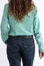 Women's Cinch L/S, Turquoise and White Plaid