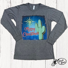 Women's Ranch Swag L/S, Merry Christmas Cactus, Gray