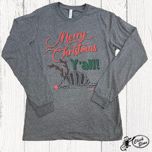 Women's Ranch Swag L/S, Merry Christmas Y'all, Gray