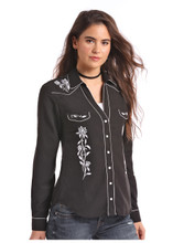 Women's Panhandle L/S, Black with White Embroidery