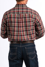 Men's Cinch L/S, Red and Brown Plaid