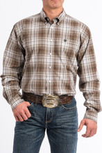 Men's Cinch L/S, Brown and White Plaid