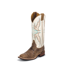 Women's Justin Boots, Cream/Turquoise Stitching, Distressed Brown Square Toe