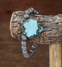 West & Co. Bracelet, Melon Beads with Turquoise Slab