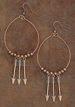 West & Co. Earrings, Burnished Copper 3 Hanging Arrows