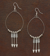 West & Co. Earrings, Silver with 3 Arrows and Beaded Wire
