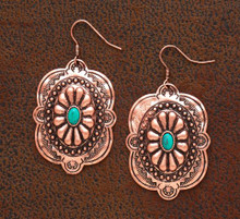 West & Co Earrings, Copper Navajo Concho, Turquoise Stone