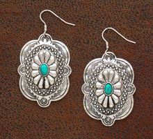 West & Co Earrings, Silver Navajo Concho, Turquoise Stone