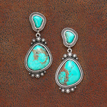 West & Co Earrings, Drop Concho with Turquoise Stone