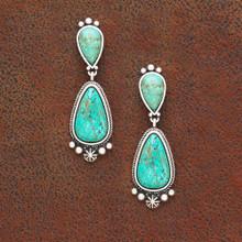 West & Co Earrings, Turquoise Tear Drop, Silver Embellishment
