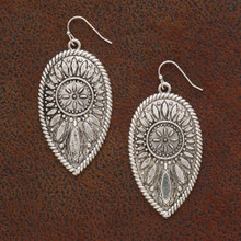 West & Co. Earrings, Burnished Silver Teardrop, Concho with Flower Detail