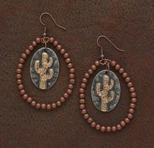 West & Co. Earrings, Burnished Copper Teardrop, Cactus Charm