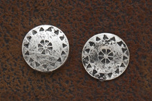 West & Co. Earrings, Burnished Silver, Small Round Tribal Stud