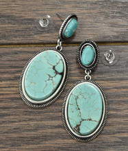 Isac Trading Earrings, 2 Turquoise Stone with Silver Rope Border