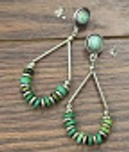 Isac Trading Earrings, Teardrop with Green Disk Beads