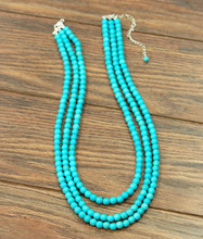 Isac Trading Necklace, 3 Strand Turquoise Beads