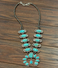 Isac Trading Necklace, Full Turquoise Squash, Navajo Beads