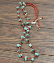 Isac Trading Necklace, Chunky Turquoise Stones with Red Beads