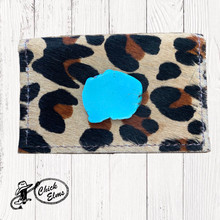 Keep it Gypsy Credit Card Holder, Cheetah with Turquoise Slab